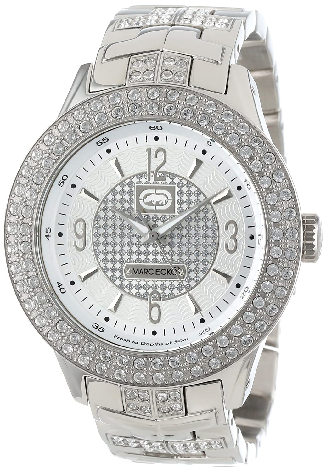 Amazon.com: Marc Ecko Mens Iced Quartz Stainless Steel Dress Watch, Color:Silver-Toned (Model: E16533G1): Marc Ecko: Watches