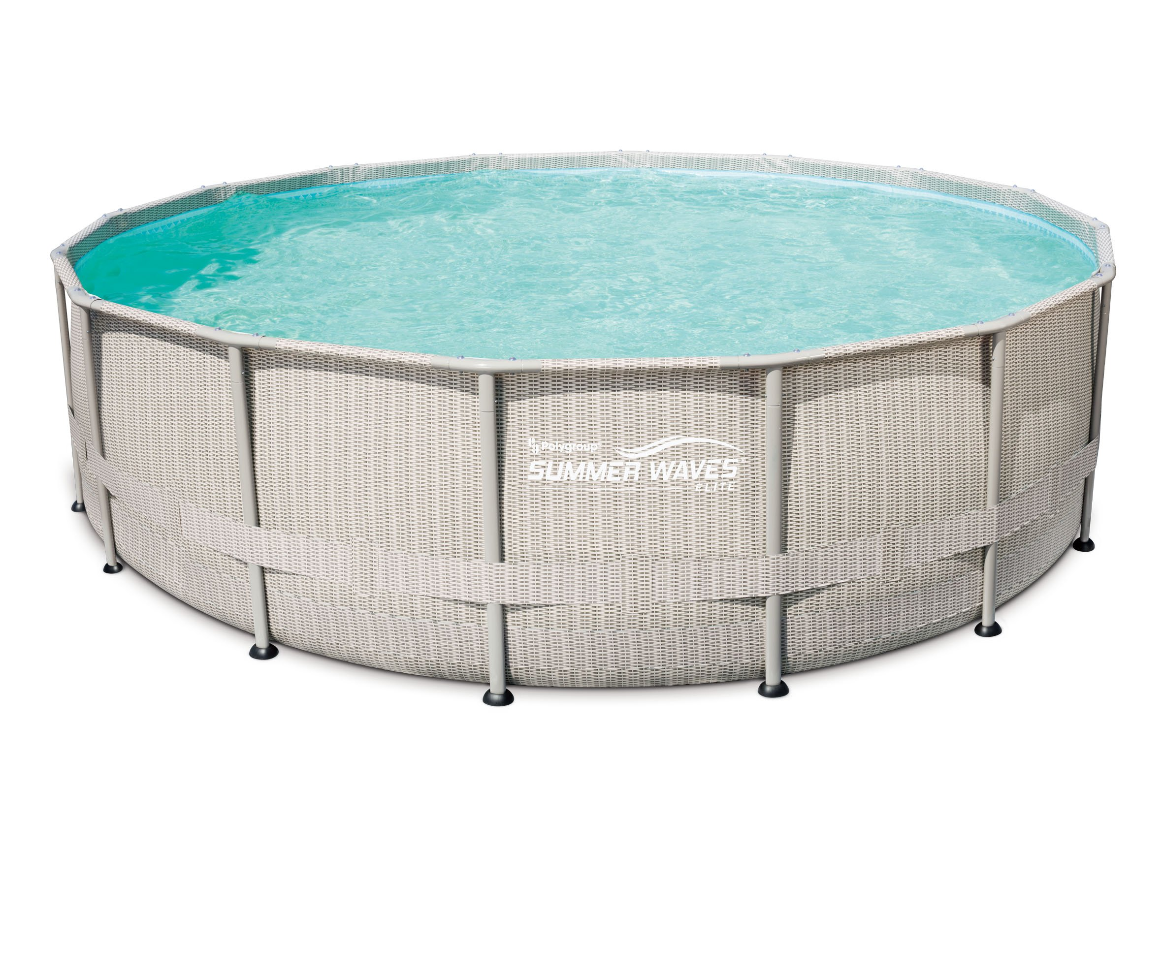 SUMMER WAVES 20ft. Light Wicker Print Elite Frame above Ground Pool, 20 Foot by SUMMER WAVES