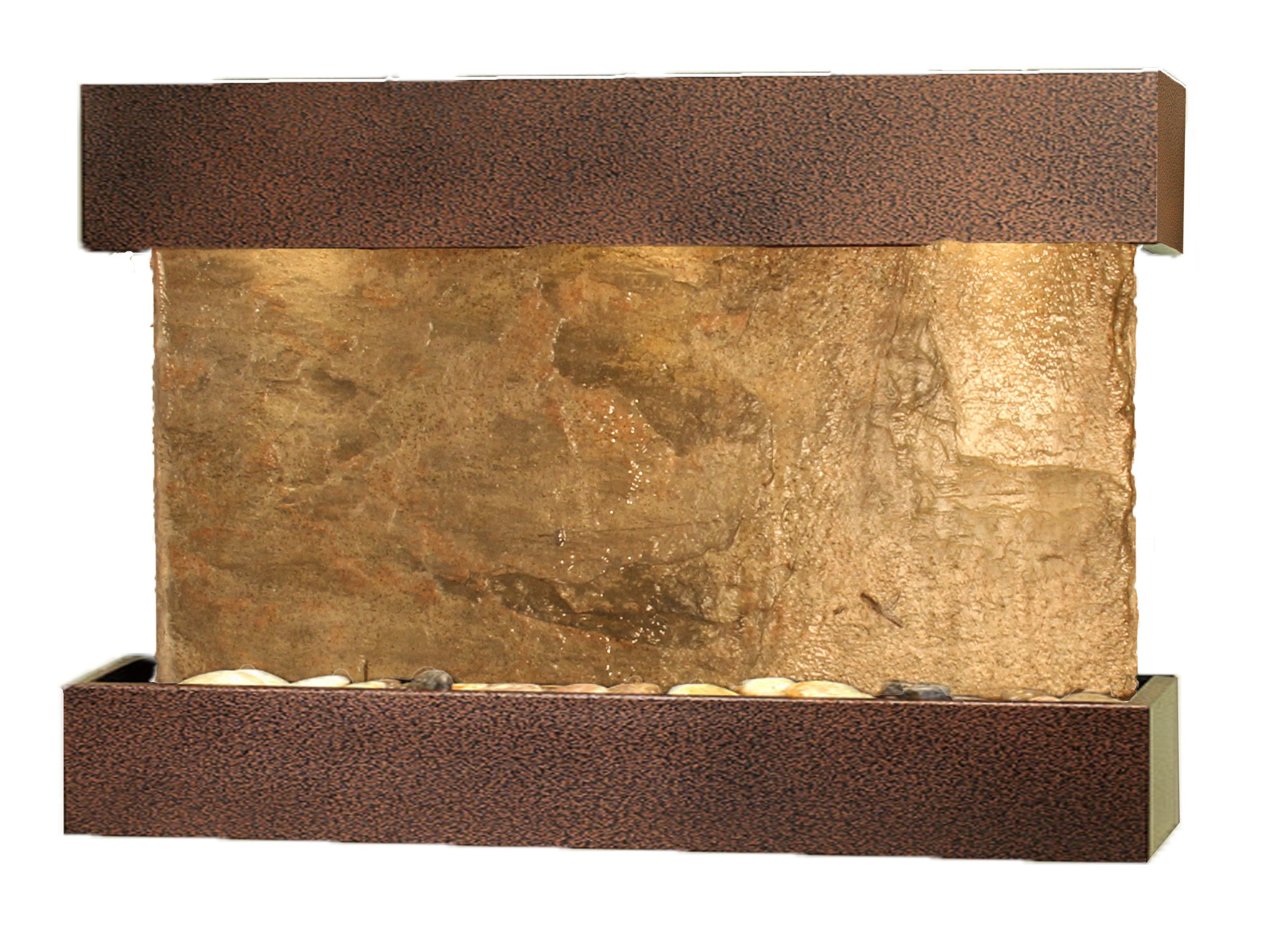 Reflection Creek Water Feature with Copper Vein Trim and Square Edges (Natural Green Slate)