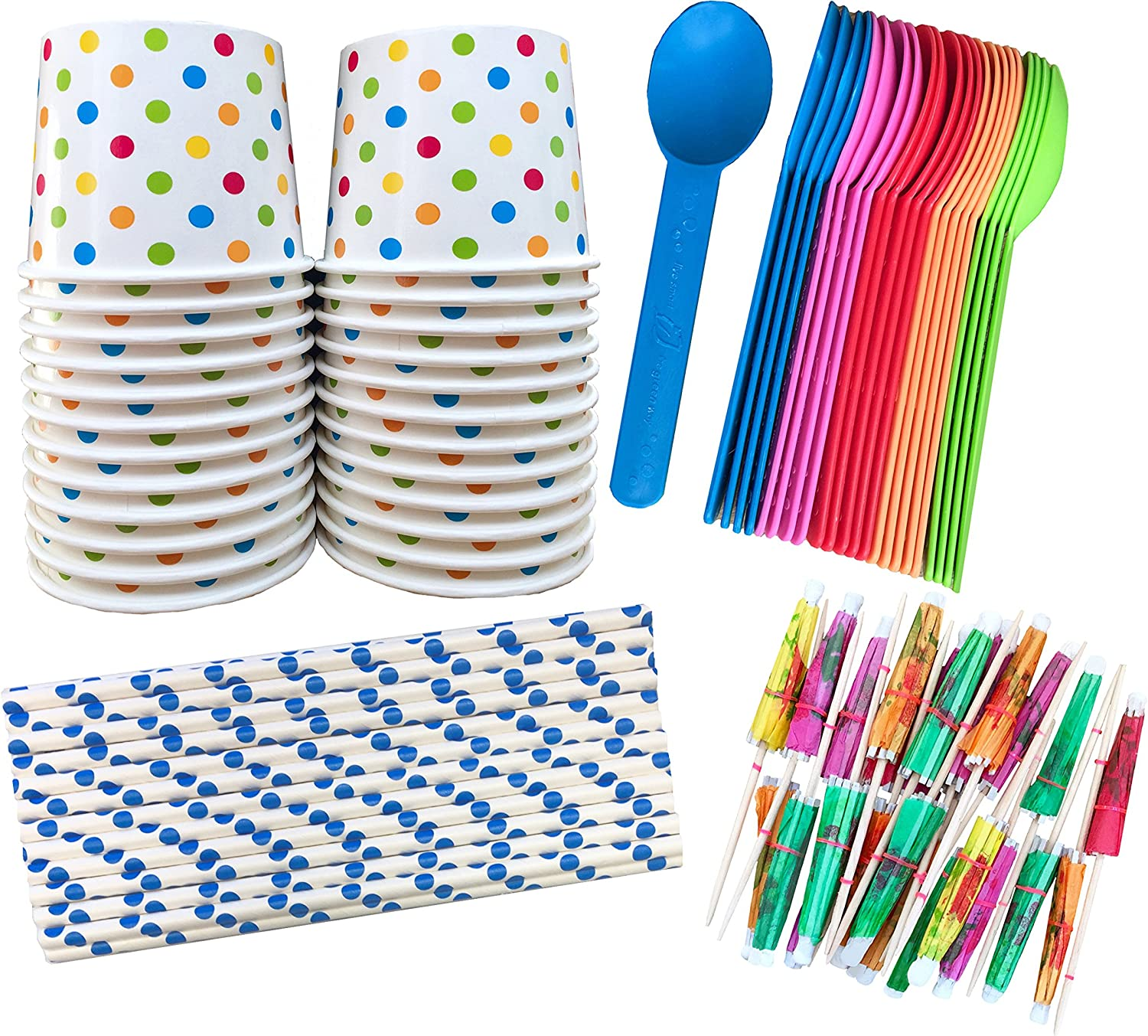 Ice Cream Sundae Kit - 12 Ounce Polka Dot Paper Treat Cups -Heavyweight Plastic Spoons - Paper Straws - Paper Umbrellas - 24 Each - Blue, Pink, Orange, Yellow, Green Outside the Box Papers Brand