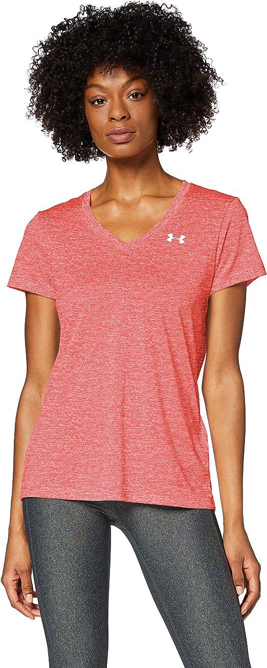 Under Armour Women's Tech V-Neck Twist Short Sleeve T-Shirt, Watermelon (677)/Metallic Silver, Medium
