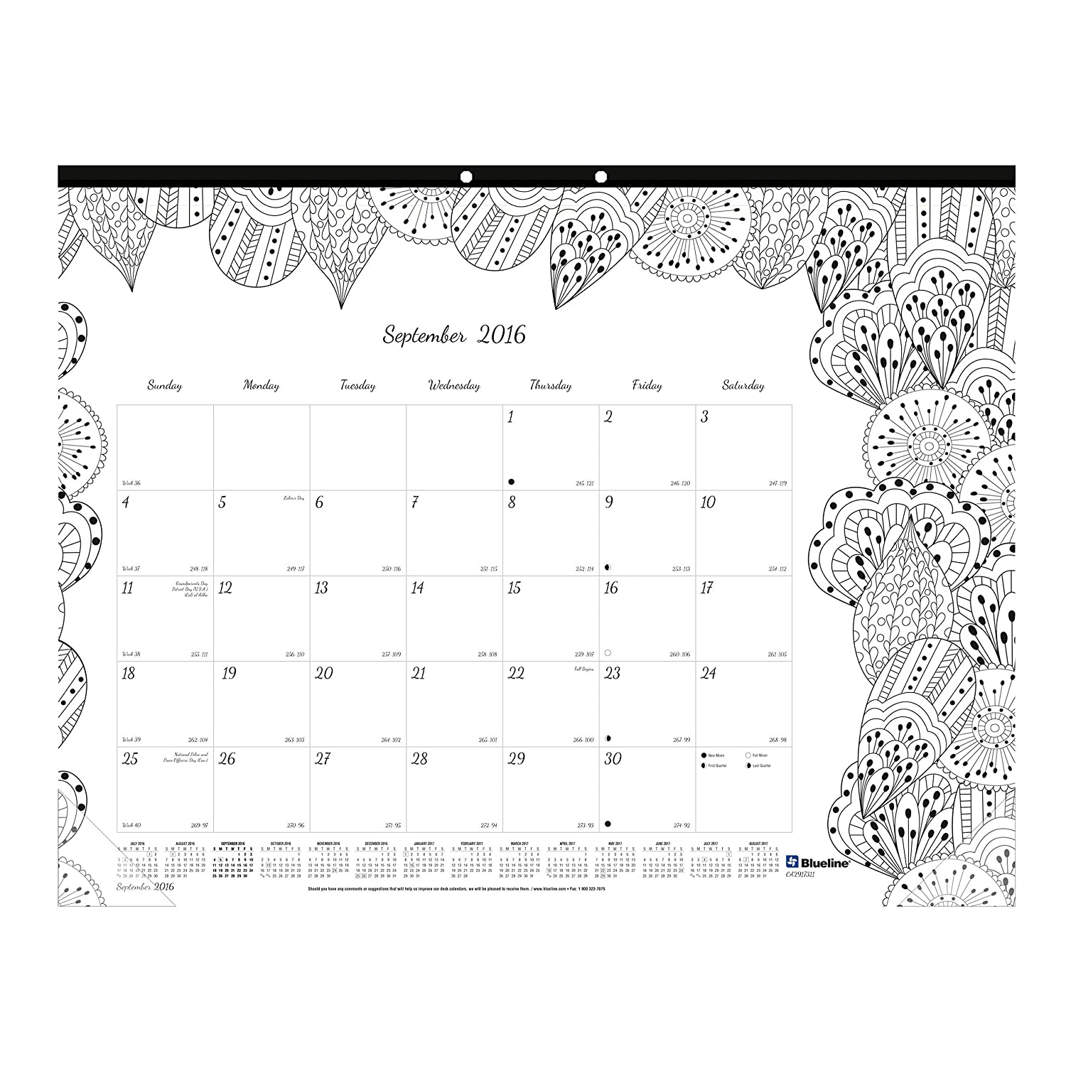 Blueline 2017 Academic Monthly Coloring Desk Pad Botanica August
