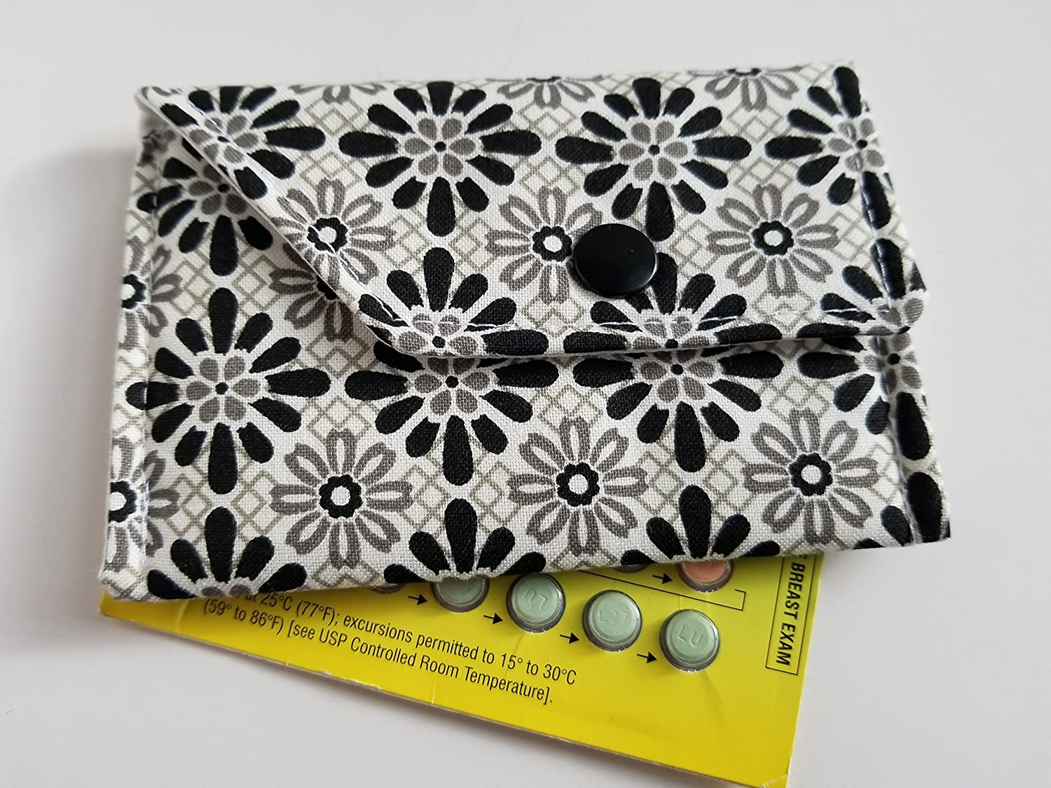 Birth Control Case Sleeve with Snap Closure and Optional Keychain Clip -Black and grey