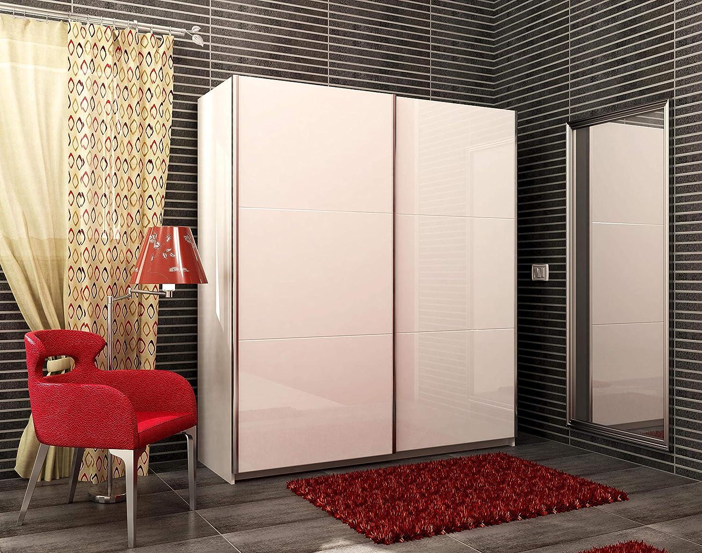 Armario de dos puertas correderas color blanco lacado blanco ...