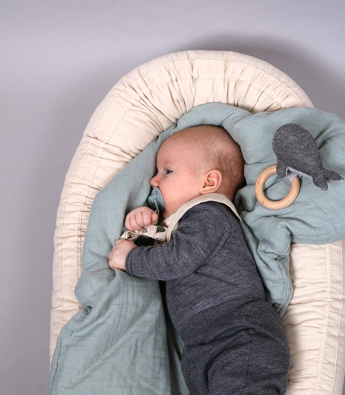 Filibabba Nido de beb/é de algod/ón relleno de kapok 85 x 50 x 12 cm en color gris-beige