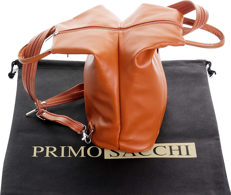 Primo Sacchi Sac à dos pour sac à dos Italian Napa en cuir souple avec poignée en cuir Comprend un sac de rangement protecteur Tan & Marron