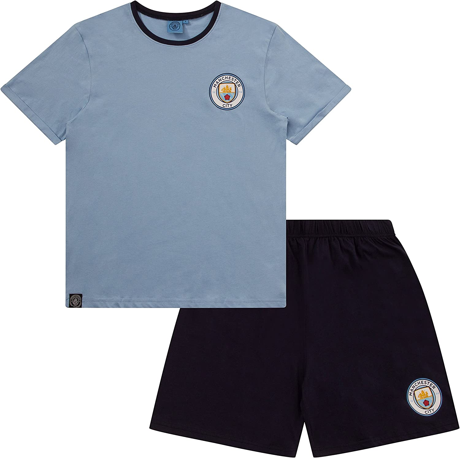 Mens Official Manchester City FC MCFC Short Pyjamas Mens Football Club Pajamas