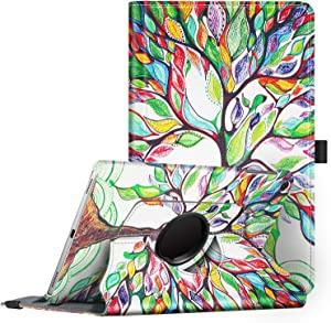Fintie Rotating Case for Samsung Galaxy Tab A 10.1 2019 Model SM-T510(Wi-Fi) SM-T515(LTE) SM-T517(Sprint), Premium PU Leather 360 Degree Swivel Stand Cover, Love Tree