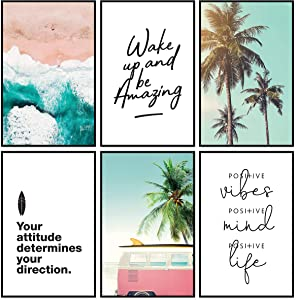 Inspirational Wall Art Beach Decor | Motivational Posters, Positive Quotes Wall Decor, Beach Decorations for Home, Aesthetic Beach Photo Prints for Bedroom or Office, Set of 6 - 11x17 in.