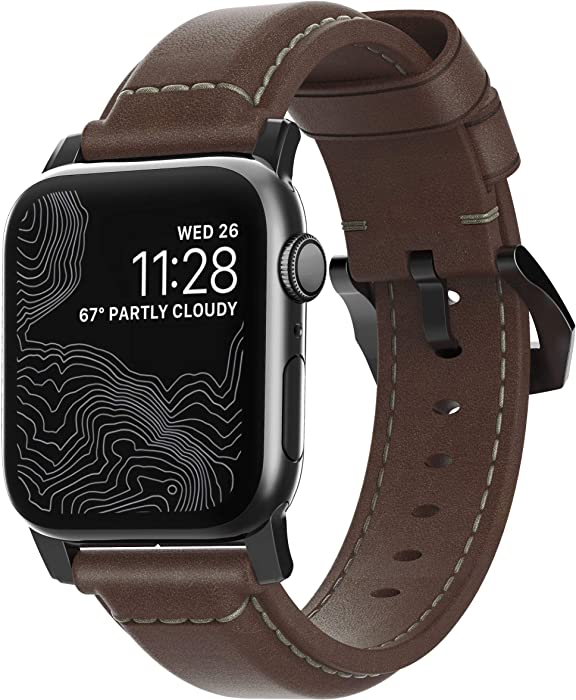 Nomad Traditional Strap for Apple Watch 44mm/42mm   Rustic Brown Horween Leather   Black Hardware