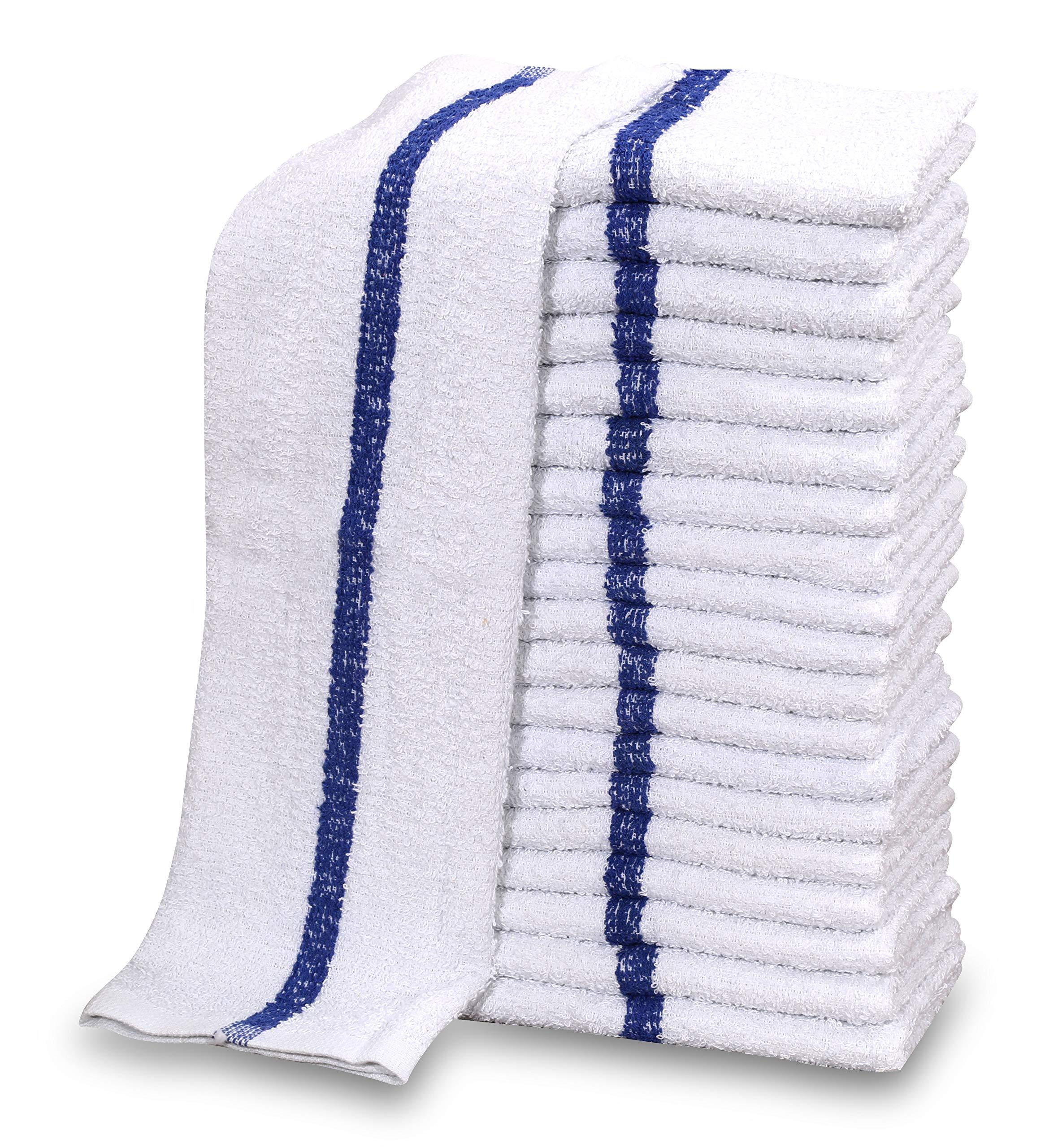 GOLD TEXTILES 60 PC New 100% Cotton White Restaurant Bar Mops Kitchen Towels 28oz (5 Dozen) (60, Blue Stripe)