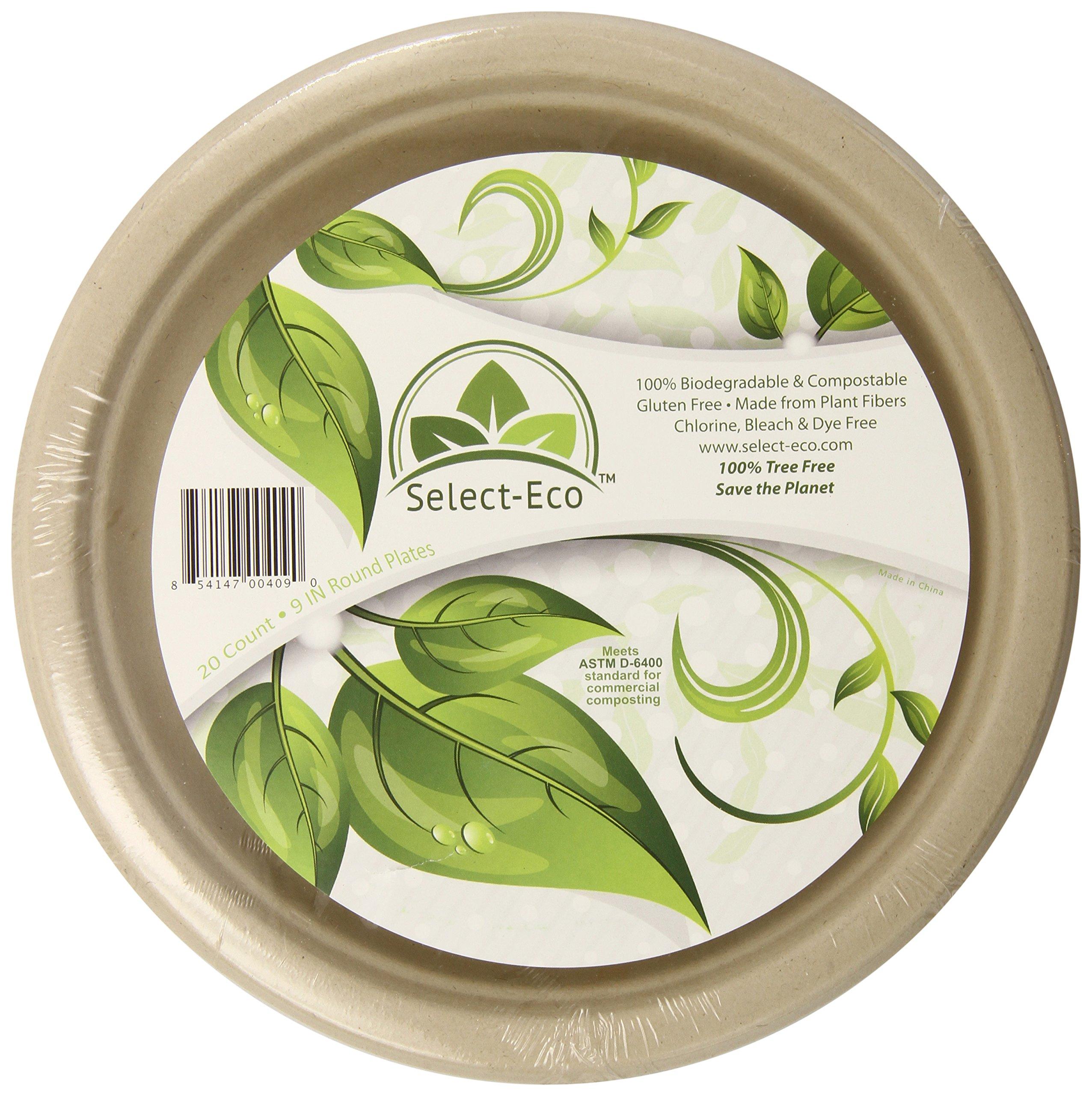 "Earth's Natural Alternative Wheat Straw Fiber, Bagasse (Sugarcane) Tree Free 9"" Plate, 20 Pack"