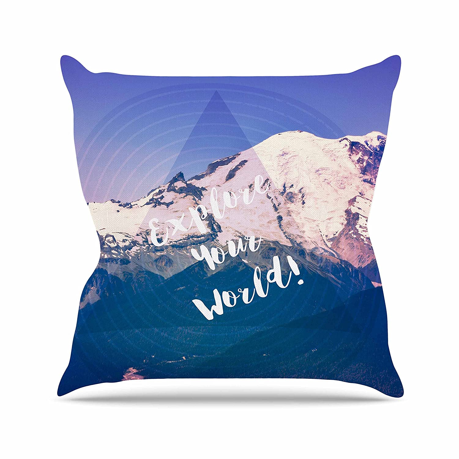 Kess InHouse Robin Dickinson Explore Your World! Blue Purple Throw Pillow, 18 by 18'
