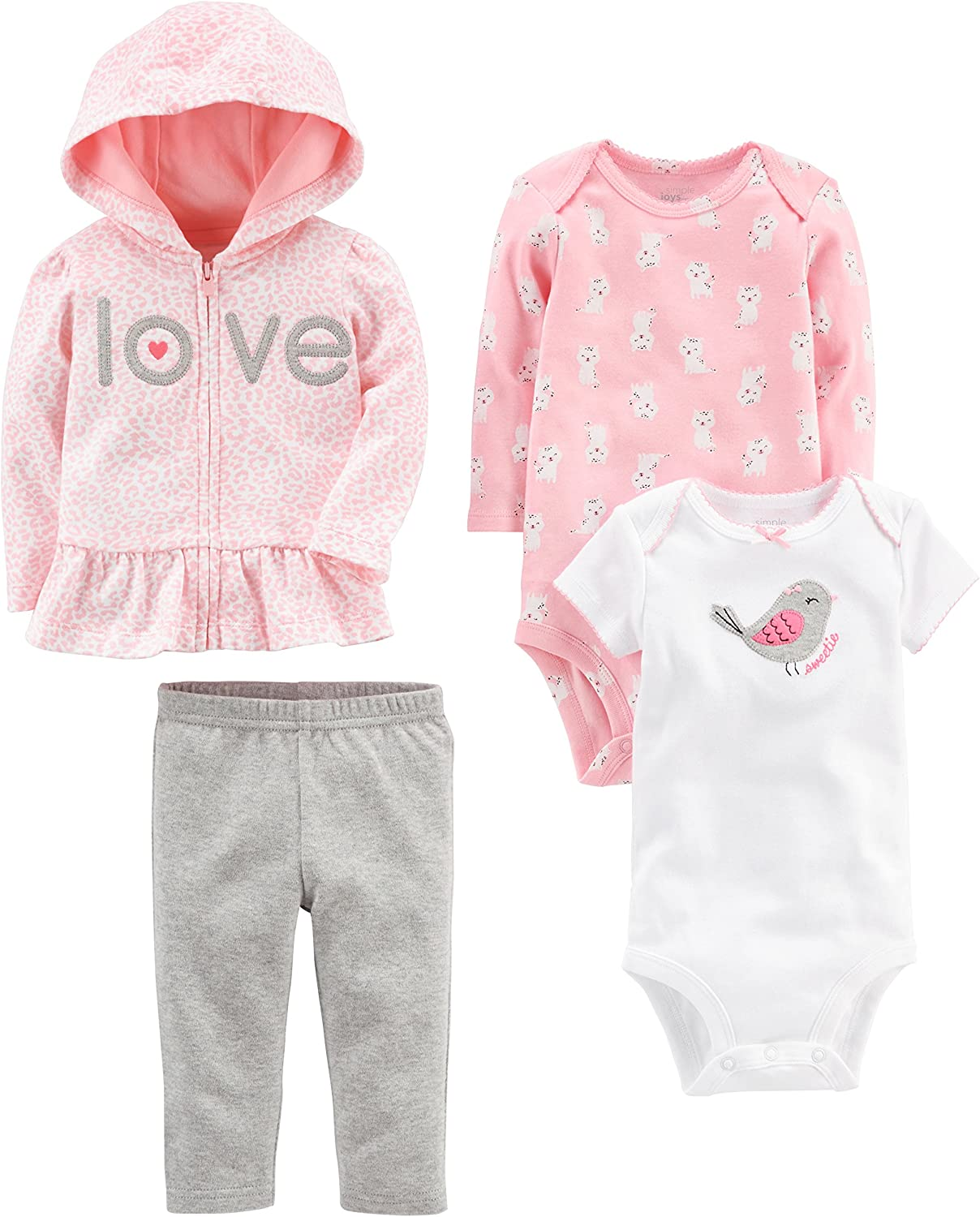 Simple Joys by Carters Baby Girls 4-Piece Jacket Pant and Bodysuit Set