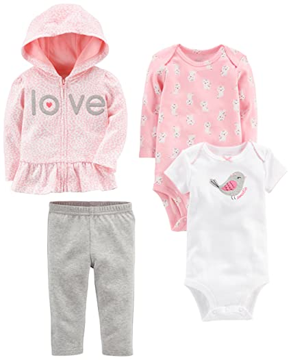 Simple Joys by Carter's Baby Girls' 4-Piece Little Jacket Set, Pink/Grey, Newborn