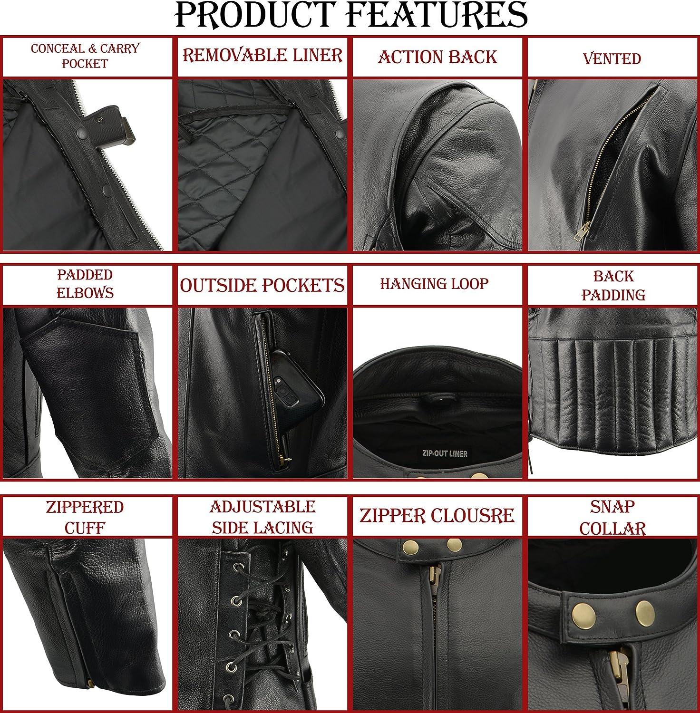 M-BOSS MOTORCYCLE APPAREL-BOS11510-BLACK-Men/'s cowhide leather motorcycle jacket.-BLACK-LARGE