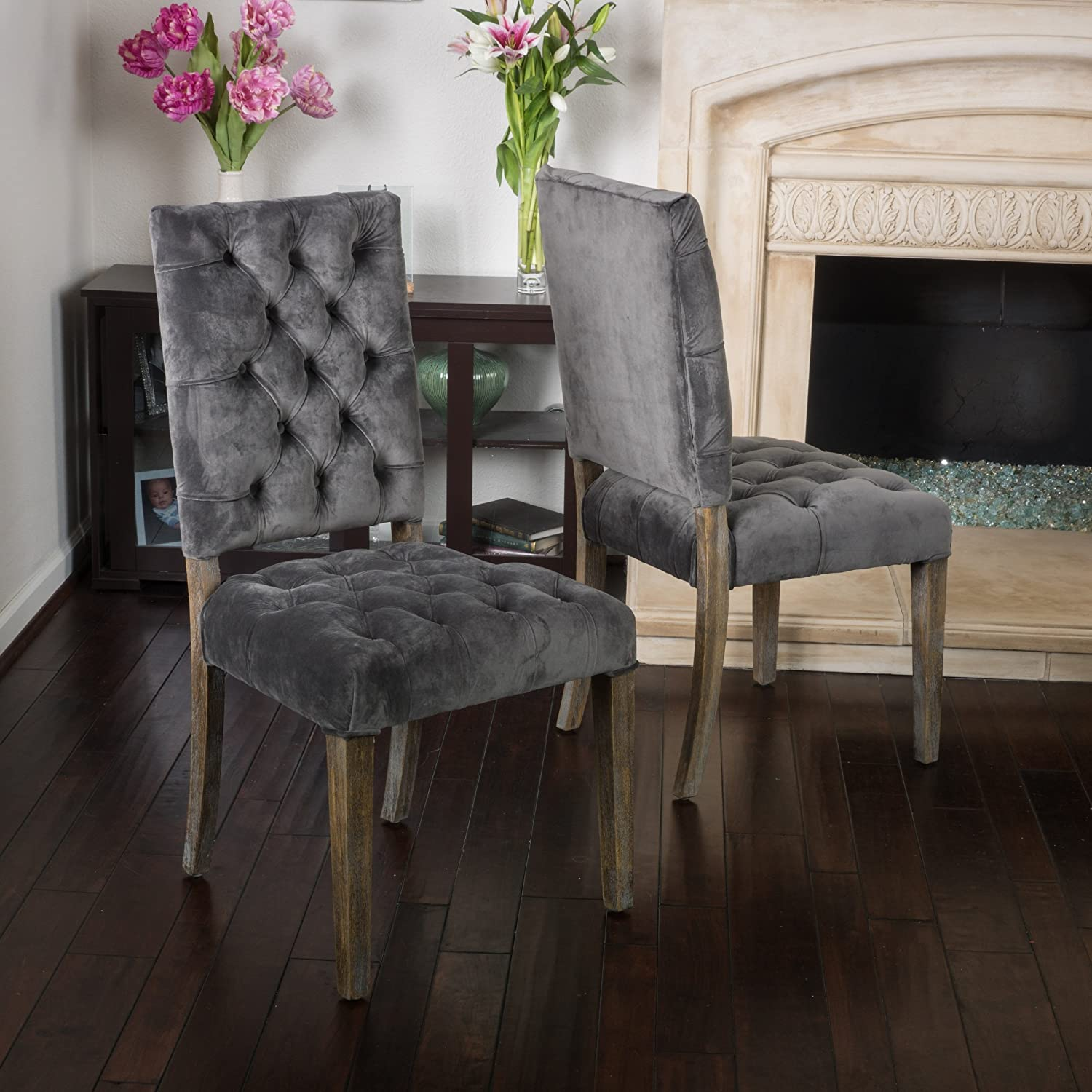 Christopher Knight Home 296550 Carolina Charcoal New Velvet Dining Chairs