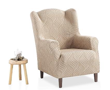 Bartali Funda de sillón orejero elástica Aitana - Color marfil -Tamaño 1 plaza (de 70 a 110 cm).
