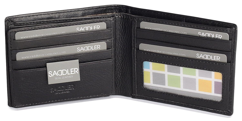 Black Saddler Mens Leather Wallet Credit Card ID Window Billfold