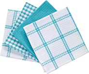 T-fal Textiles Cotton Flat Waffle Dish Cloth, Highly Absorbent, Machine Washable, 12