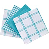 "T-fal Textiles Cotton Flat Waffle Dish Cloth, Highly Absorbent, Machine Washable, 12"" x 13"", Breeze, 4-Pack"