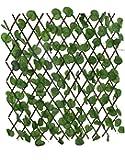 سياج خشبي مزخرف نباتات صناعية أوراق اللبلاب الأخضر قابلة للتمدد لتزيين المنزل والحديقة