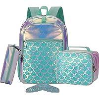 Backpack for Girls Boys Elementary Student School Backpacks for Teen Girls Boy, 02 3pcs Mermaid Bag, Traveling