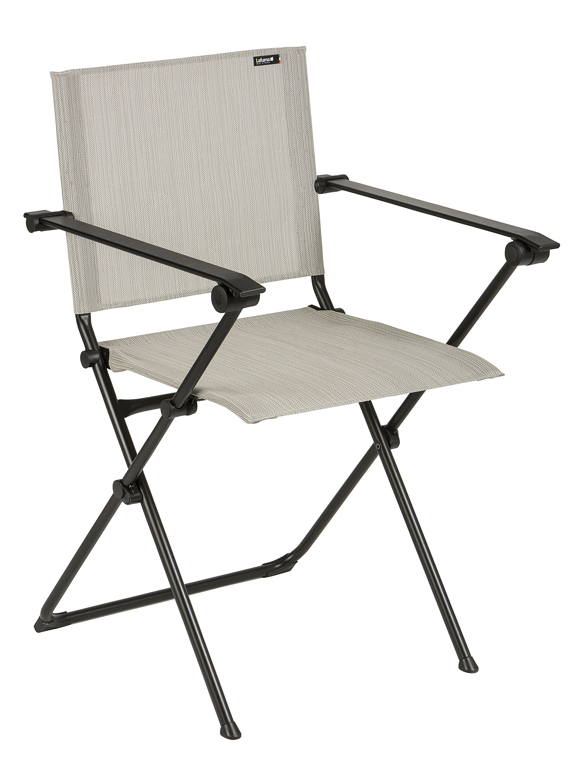 Lafuma Anytime Folding Armchair - Black Steel Frame with Galet Batyline Duo Fabric