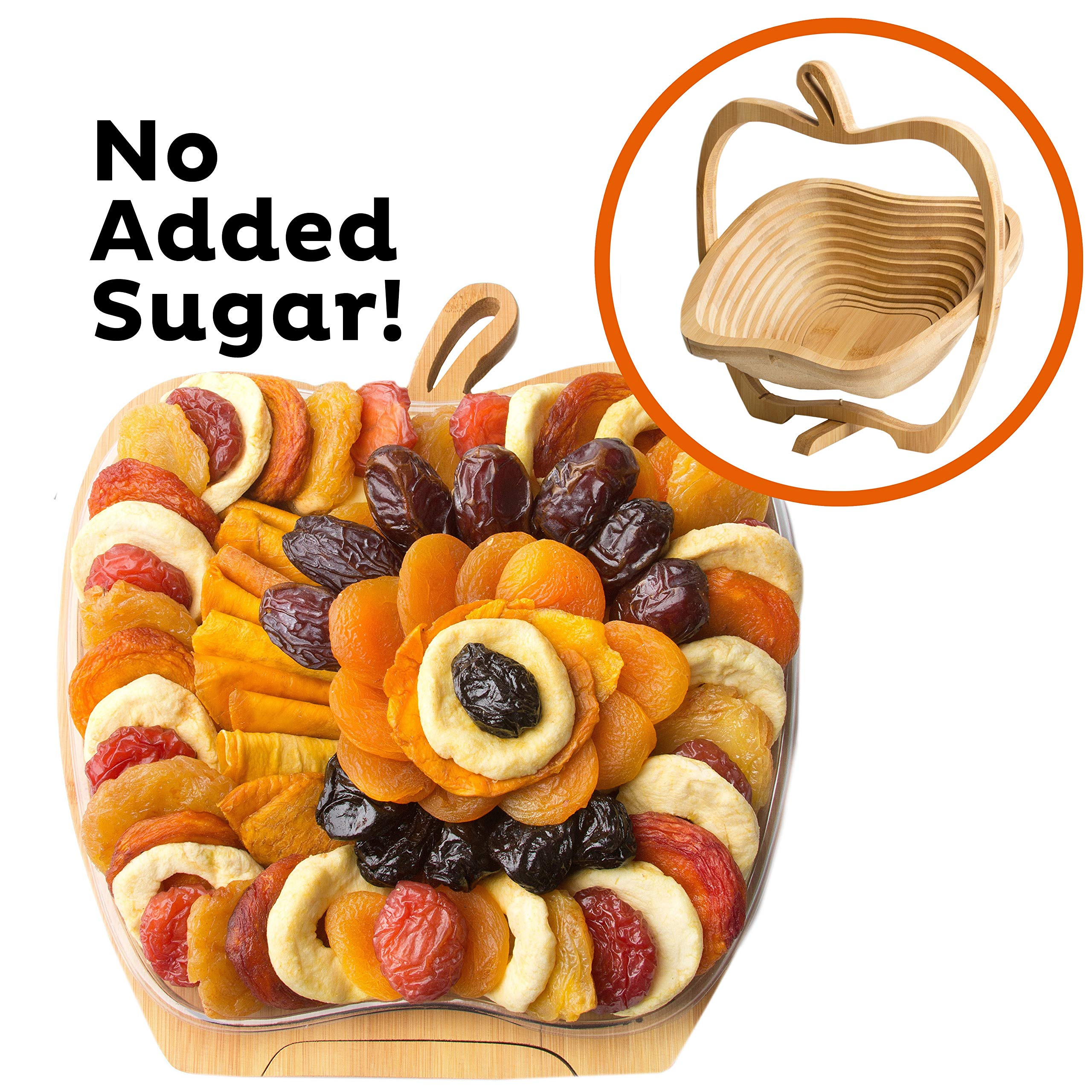 Oh! Nuts Dried Fruit Gift Basket | Healthy Assorted Gourmet Food Snacks in Folding Wooden Trivet-Tray Fruit Bowl | Fresh Natural Ingredients, No Sugar Added, Vegan Safe, Kosher, Nondairy & Gluten Free