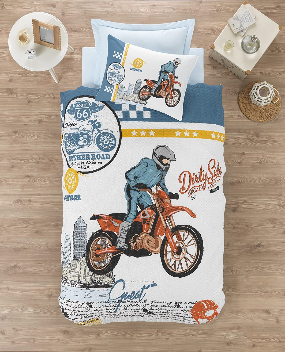 100% Cotton Multifunctional 4 Season Motorcycle Bedding, Route 66 Motorcycle Themed Single/Twin Size Quilted Bedspread/Duvet Cover Set,