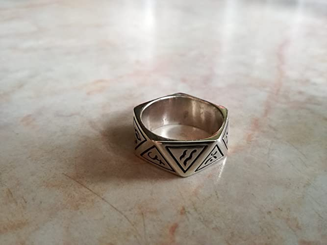 Amazon Native Tribal Ring With Ancient Symbols On Triangle