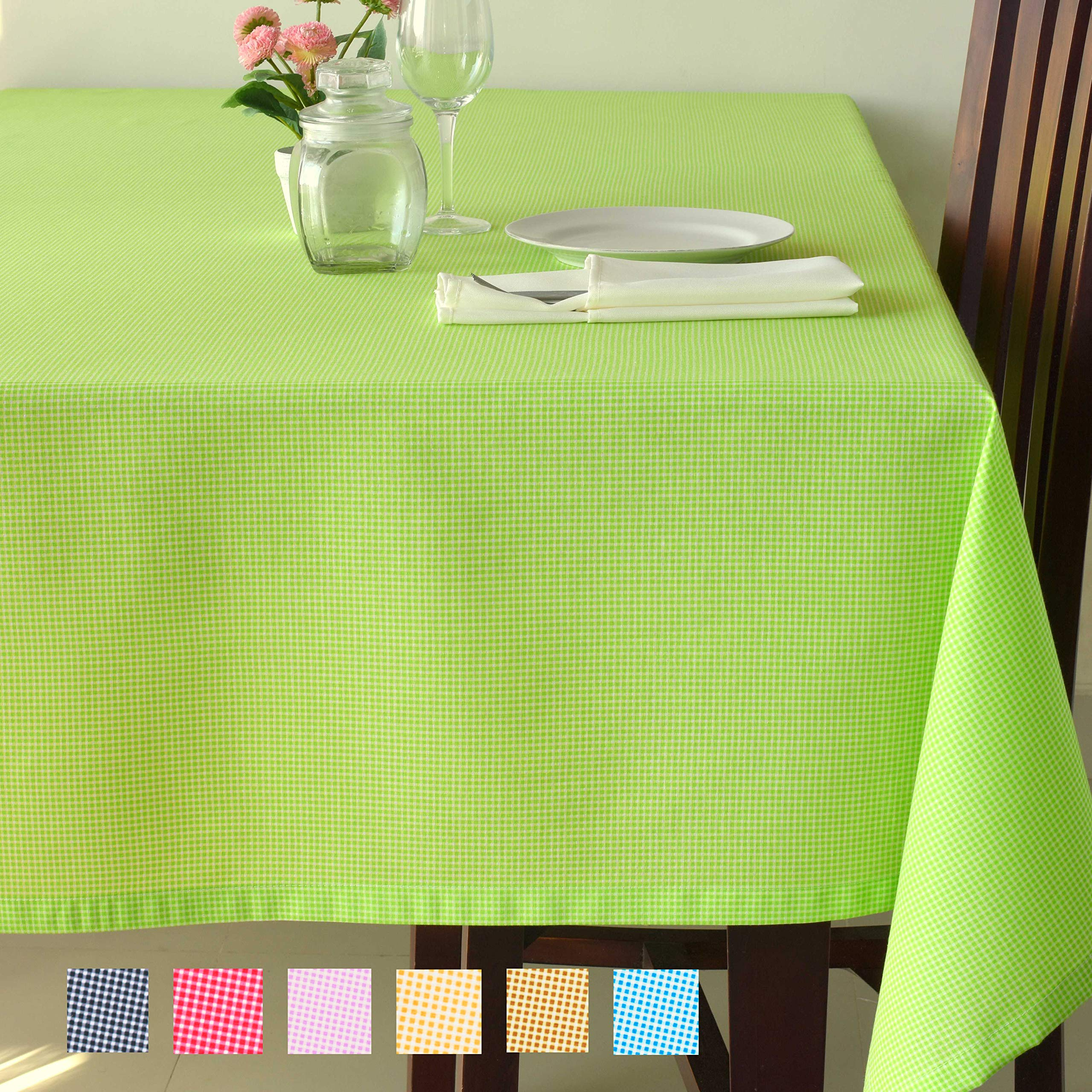 Checkered Poly-Cotton Tablecloth - Soft Table Cover Kitchen Dining Room Restaurants Cafés Rectangle Square - Thanksgiving Christmas Dinner Wedding New Year Eve (GREEN Checkered, Square 70''x70'')