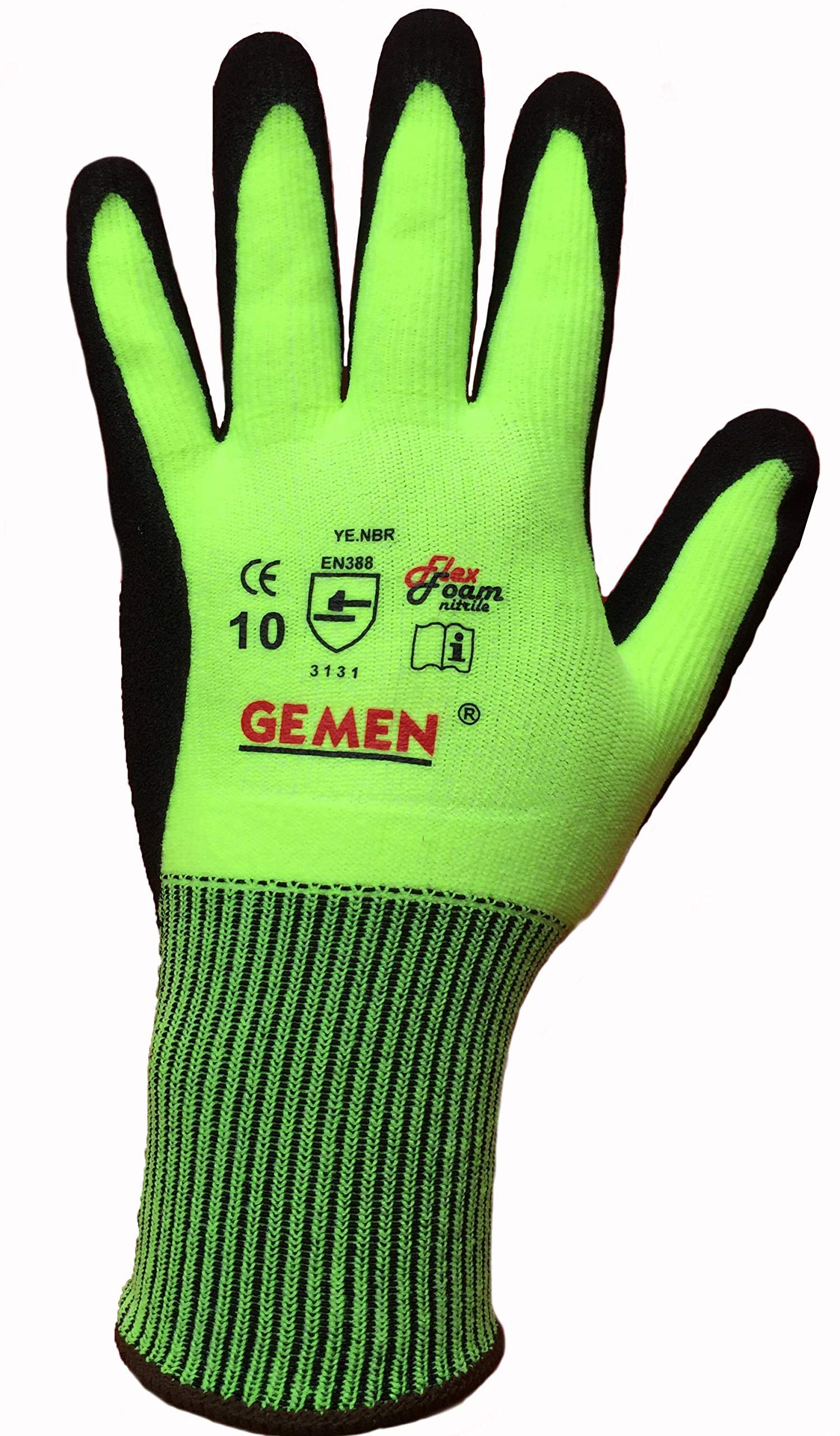 Battery1inc PA4538 Dozen GEMEN Nitrile Foam Grip Gloves (12 Pack), Large, Green