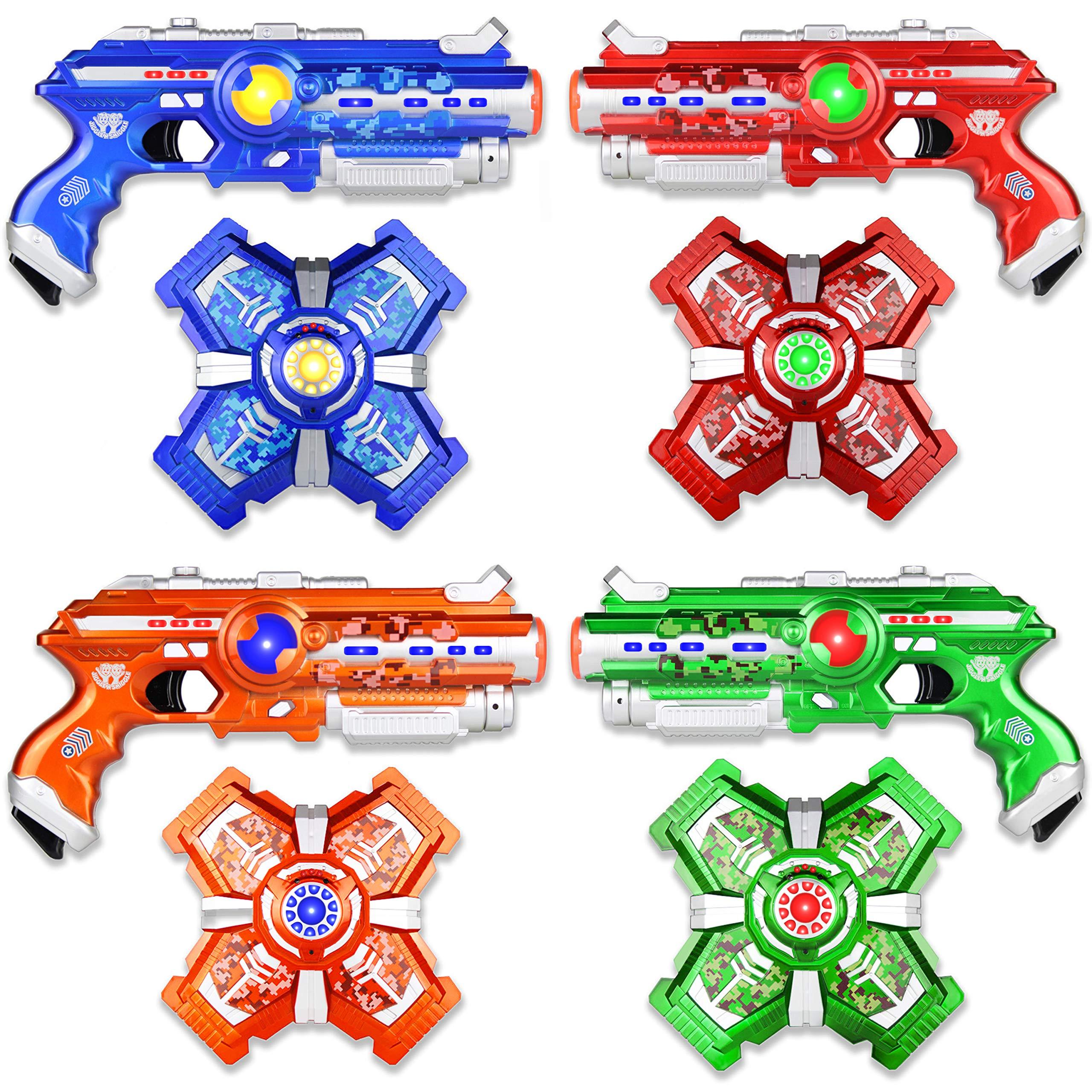 Jiggle N Smiggle Laser Tag Sets with Gun and Vest - Futuristic Lazer Tag Gun Set with Adjustable Vests for Indoor & Outdoor Games - Laser Tag for Kids & Adults - Set of 4