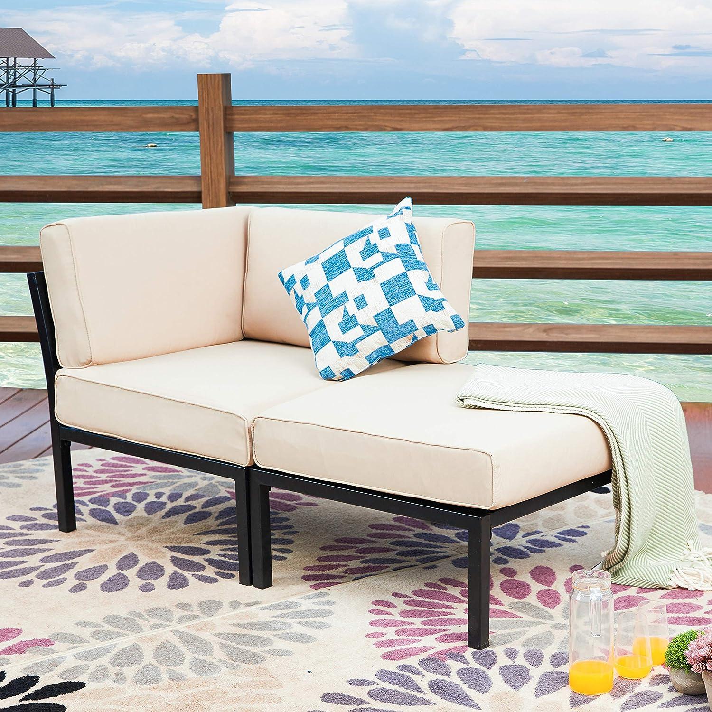 LOKATSE HOME 2 Piece Patio Furniture Set Sectional Balcony Corner Outdoor Loveseat Couch Armchiar Sofa with Ottoman Metal Steel Frame, Khaki