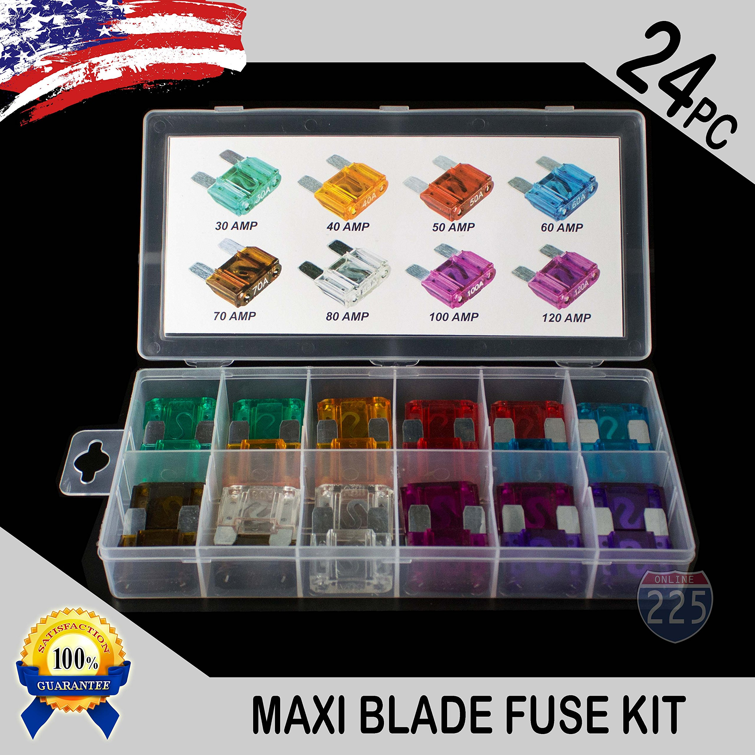 24 Pack MAXI / APX Blade Fuse Assortment Auto Car Truck Motorcycle SUV FUSES Kit