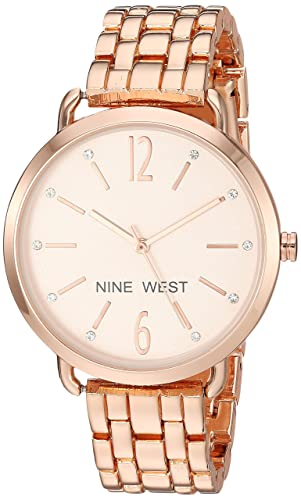 Nine West Womens Quartz Metal and Alloy Dress Watch, Color:Rose Gold-Toned