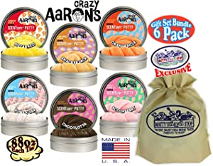 Crazy Aaron's Putty SCENTSory Tins Deluxe Gift Set Bundle Featuring Pizzarazzi, Gumballer, Chocolatta, Snackerjack, Scoopberry, Orangesicle & Bonus Matty's Toy Stop Bag - 6 Pack (.88 oz Each)