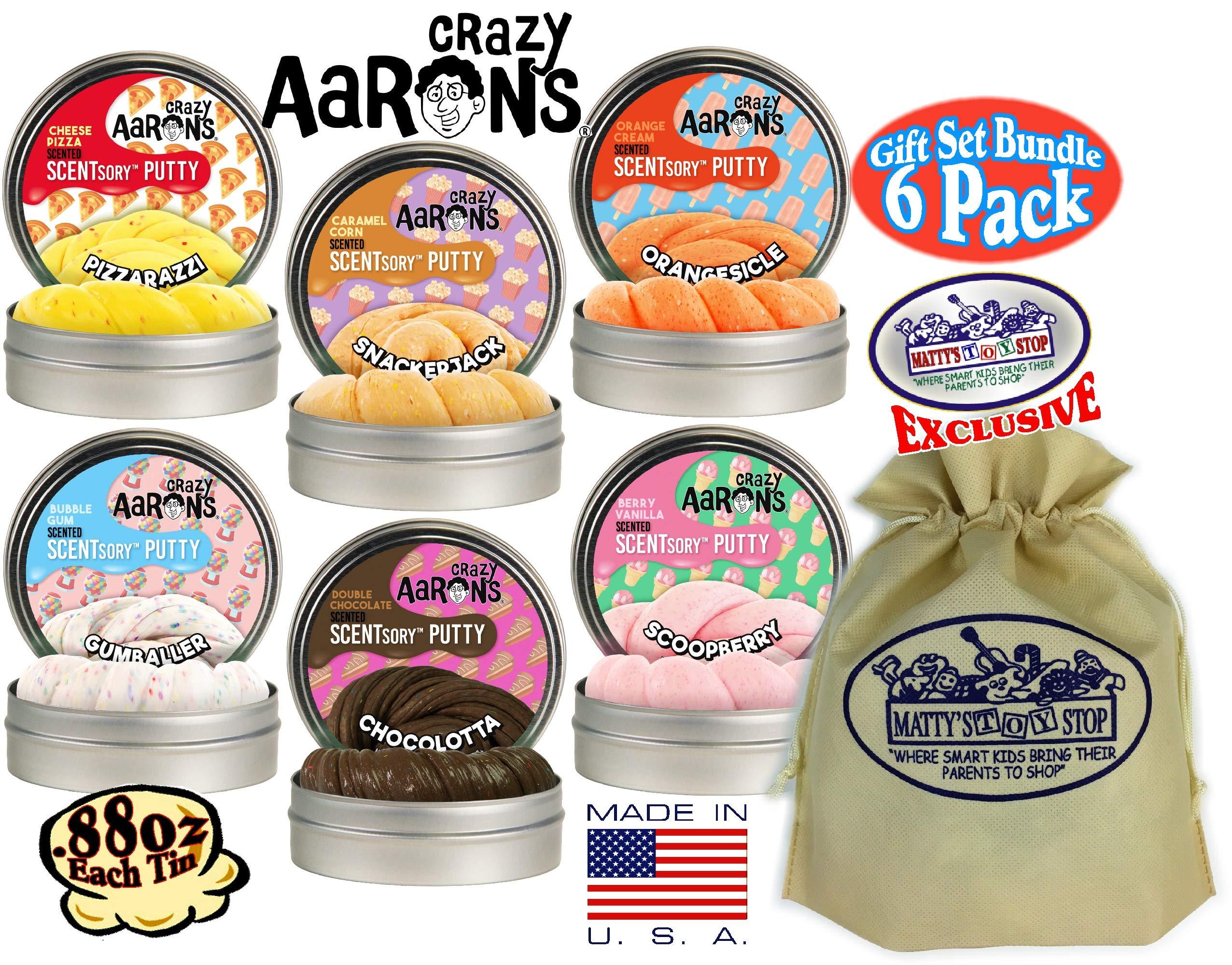 Crazy Aaron's Thinking Putty SCENTSory Tins Deluxe Gift Set Bundle Featuring Pizzarazzi, Gumballer, Chocolatta, Snackerjack, Scoopberry, Orangesicle & Bonus Matty's Toy Stop Bag - 6 Pack (.88 oz each)