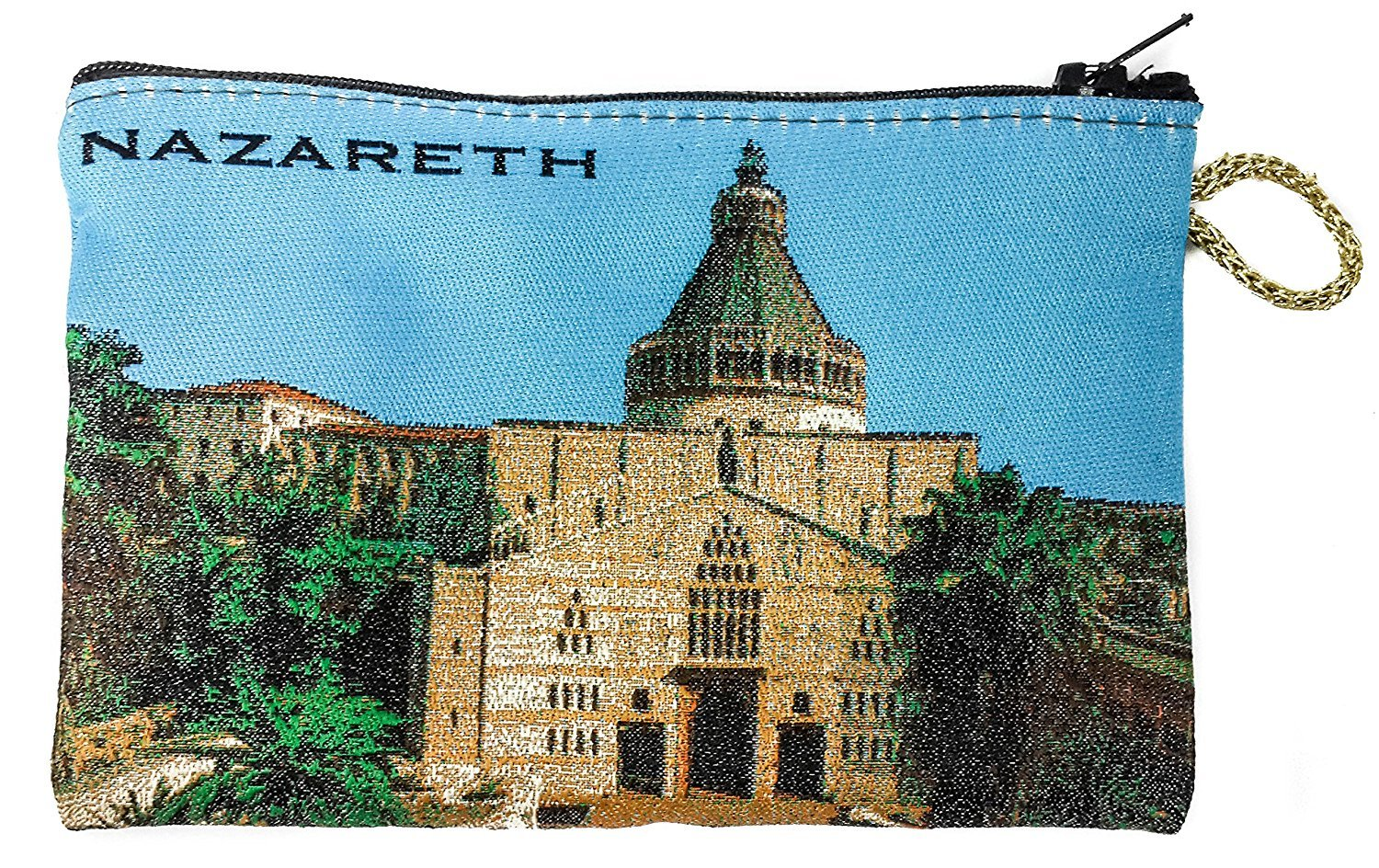 Icon Case Pouch Coin Purses Tapestry Prayer With Nazareth Annunciation Church 5.7'' by Holy Land Gifts