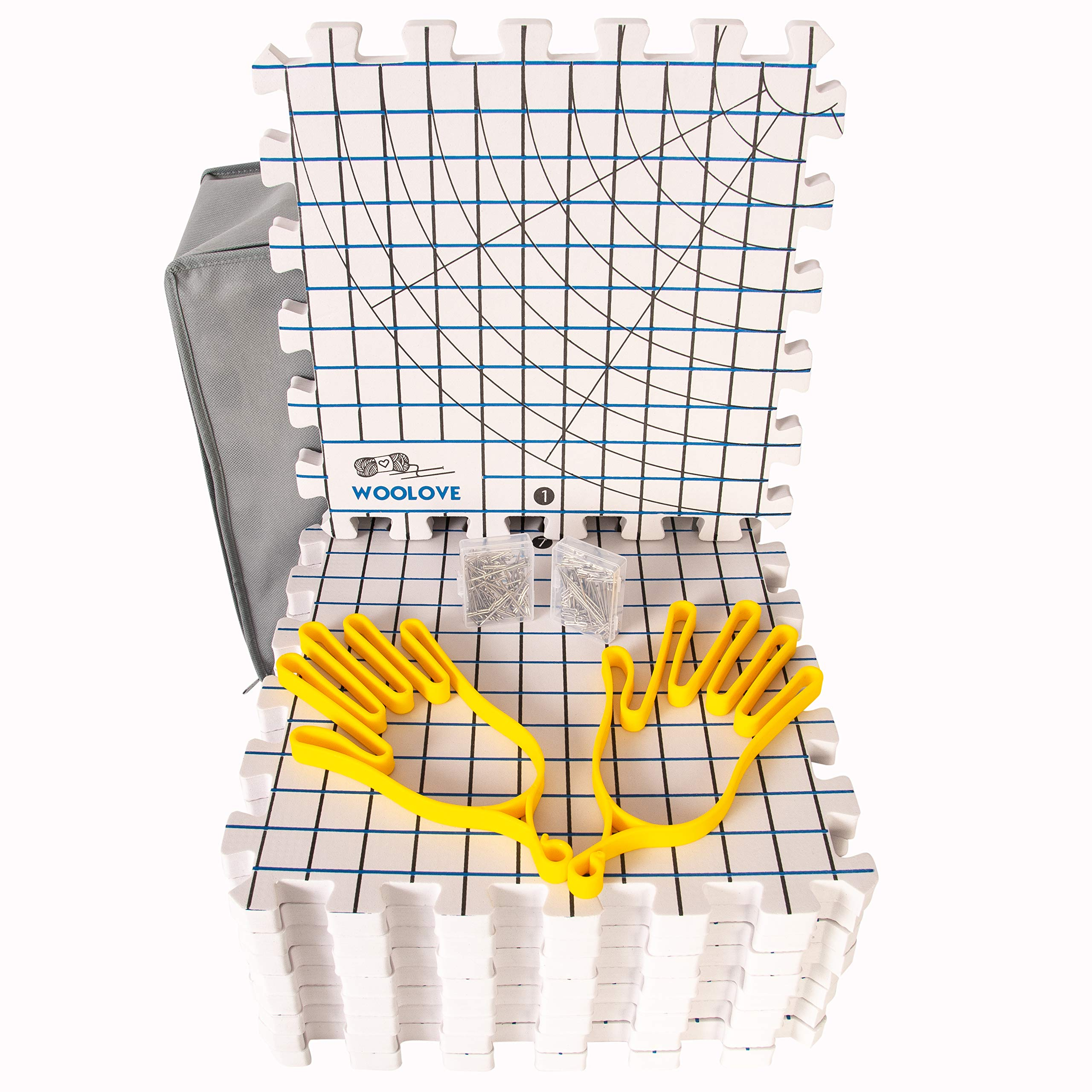 Extra Thick Blocking Mats for Wet and Steam Blocking with Grids and 22 Inches Radial Circles - Includes 100 t pins Storage Bag and Gloves Blocker
