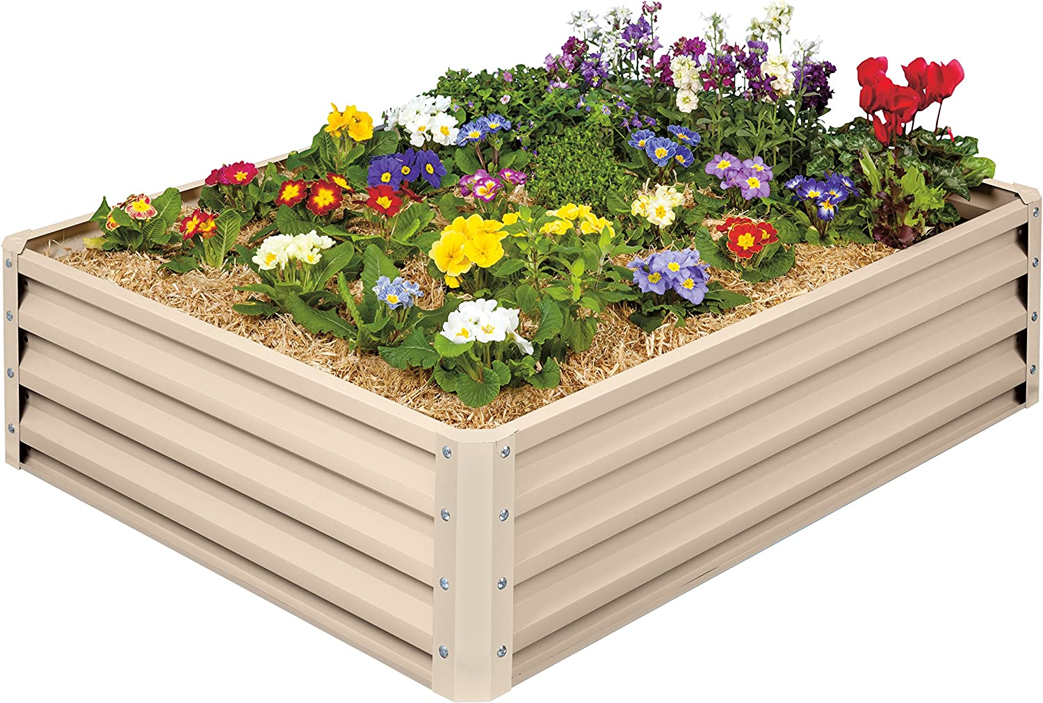 """Stratco Raised Garden Bed - 46"""" L x 35"""" W x 12"""" H -Beige - Metal Construction for Easy Cleaning and Will not Twist or Rot"""
