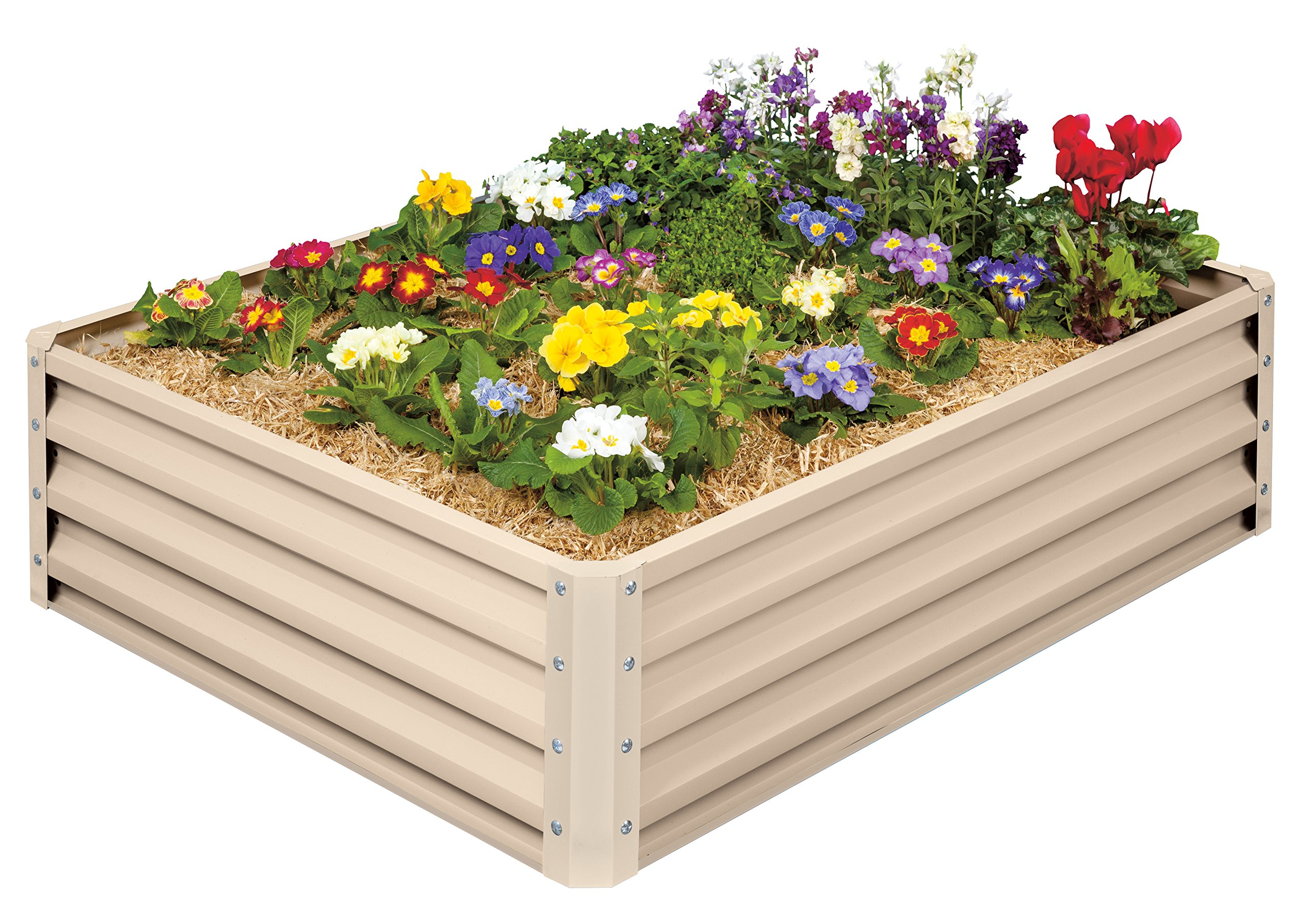 Metal Raised Garden Bed Kit - Elevated Planter Box For Growing Herbs, Vegetables, Flowers, and Succulents (1) 1 Beige Metal Raised Garden Bed Kit