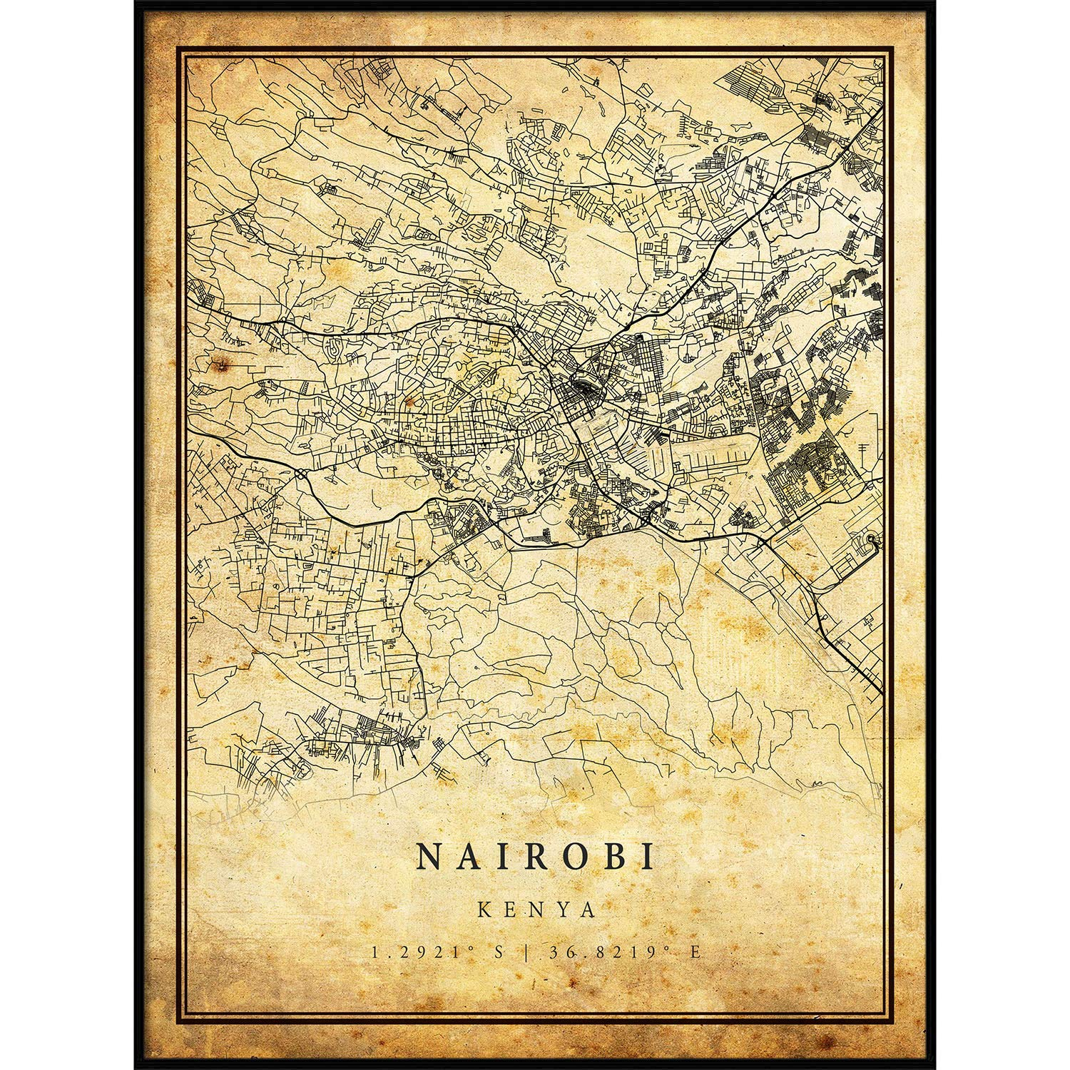 Amazon Com Nairobi Map Vintage Style Poster Print Old