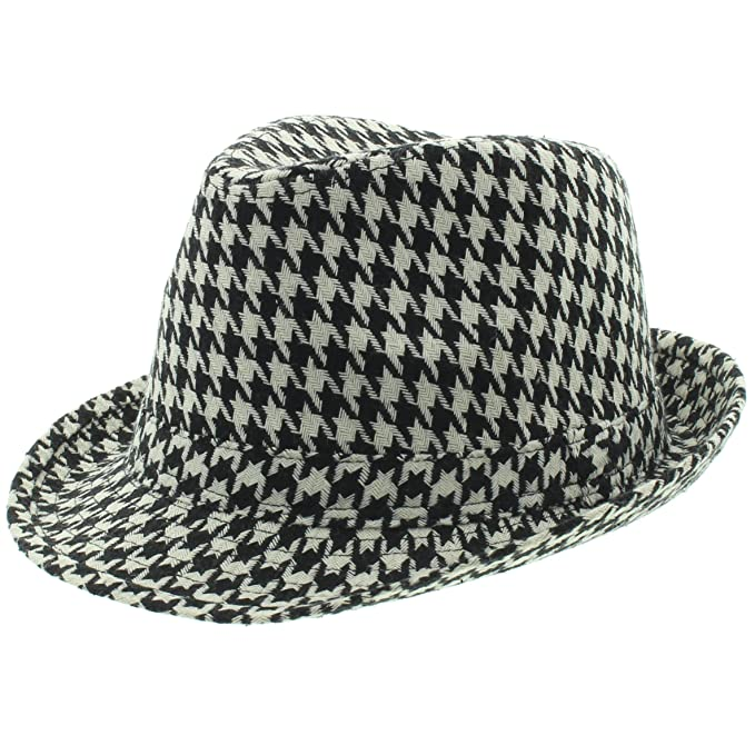 6d1b36216a5 Milani Short Brim Fedora Hat with Houndstooth Classic Pattern Bryant Style  White Black (Small