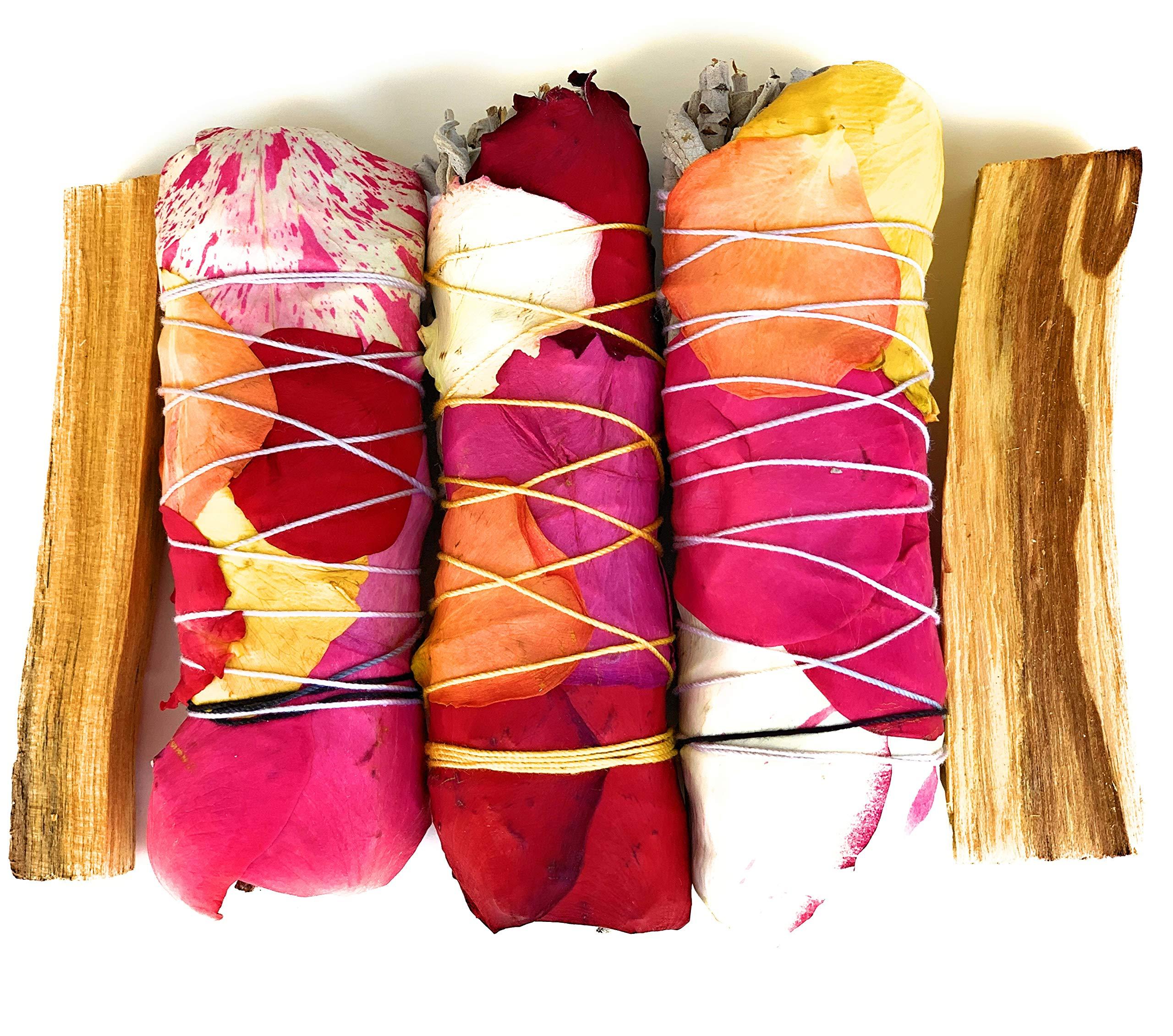 MAMA WUNDERBAR Sage Bundles White Sage and Palo Santo Handmade Smudge Kit Floral Sage Sticks