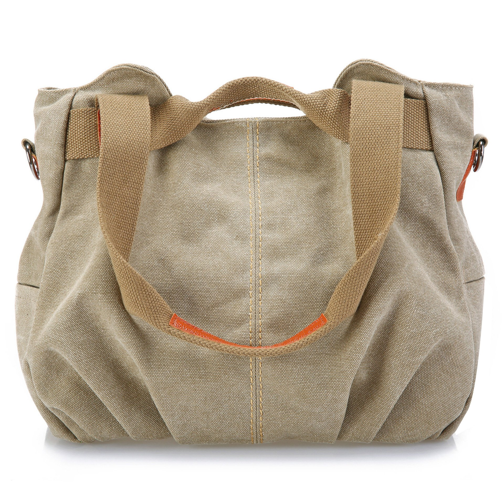 Z-joyee Women's Ladies Casual Vintage Hobo Canvas Daily Purse Top Handle Shoulder Tote Shopper Handbag Satchel Bag, Khaki
