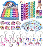 AB-112 Unicorn Theme Party Favour for Kids-96Pcs Tatoo-24Pcs Stamper-27 Pcs Rings Necklace Keychain-Birthday Party Supplies, Colourful