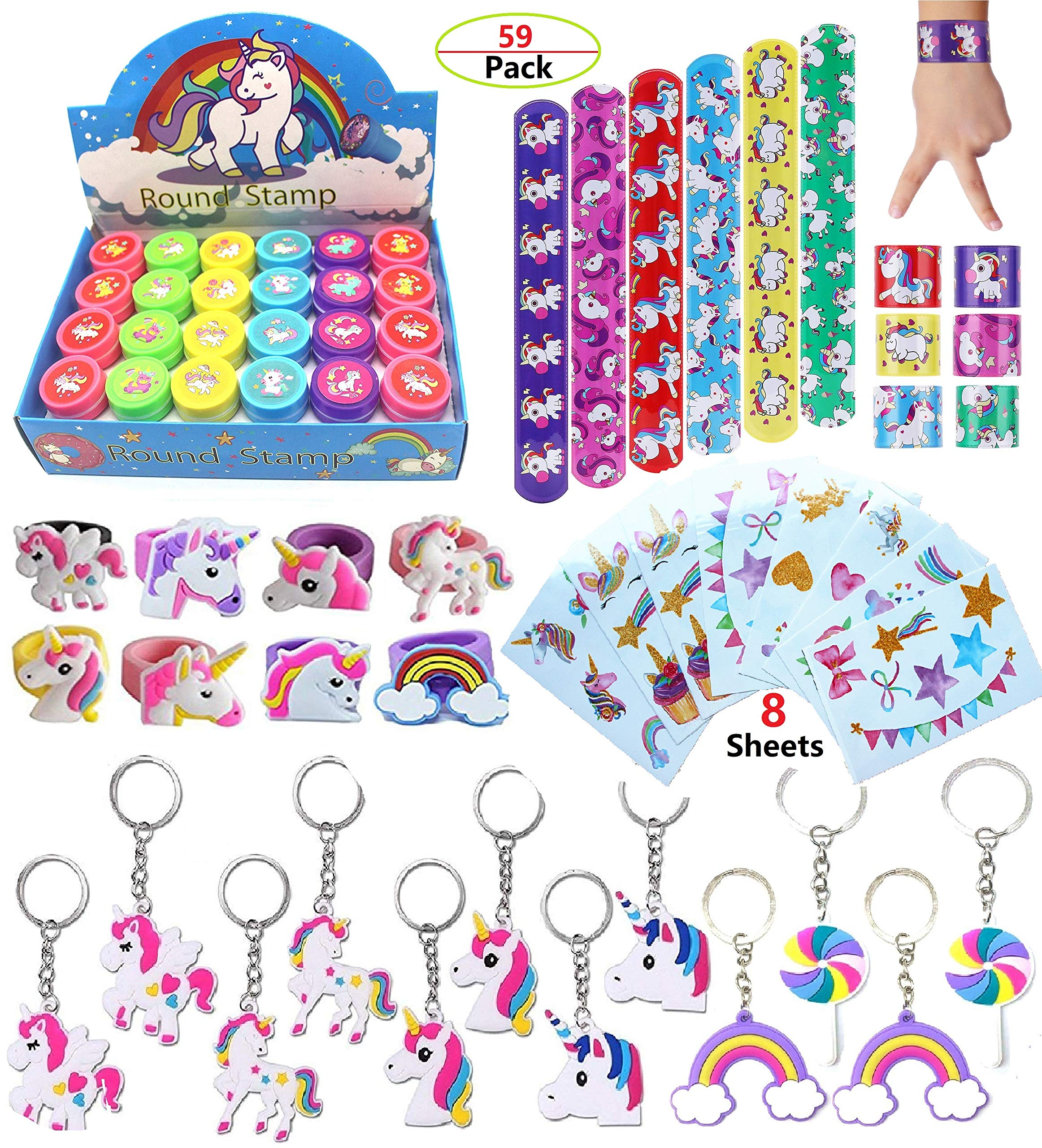 Klmars AB-112 Unicorn Theme Party Favor for Kids-96Pcs Tatoo-24Pcs Stamper-27 Pcs Rings Necklace Keychain-Birthday Party Supplies, Colorful 3
