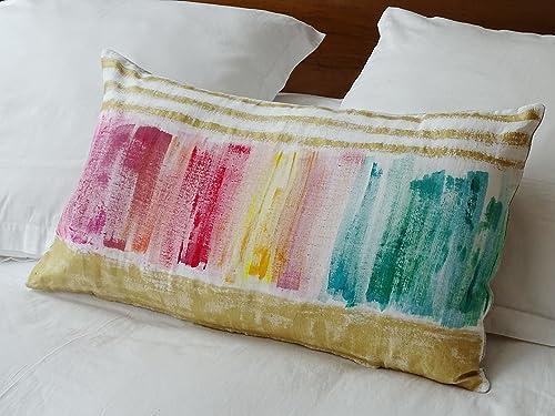 Cojín multicolor rayas doradas: Amazon.es: Handmade